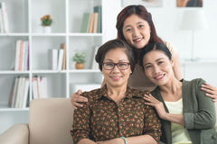 Embracing mother and grandmother Royalty Free Stock Image