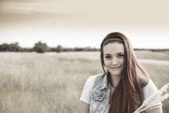 Embracing Nature. Attractive Portrait of Young Lady in a Country Setting Royalty Free Stock Photography