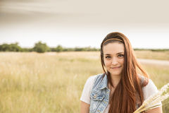 Embracing Nature. Attractive Portrait of Young Lady in a Country Setting Royalty Free Stock Image