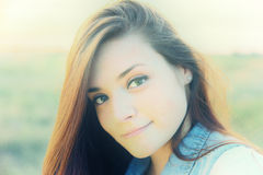 Embracing Nature. A Portrait of an Attractive Young Lady Royalty Free Stock Photography