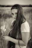 Embracing Nature. A Portrait of an Attractive Young Lady Royalty Free Stock Photos