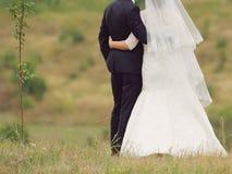 Embracing Newlyweds Stock Image