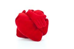 Embracing Plush Hearts Stock Photo