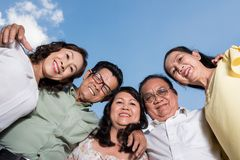 Embracing Vietnamese friends Stock Photos