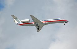 Embraer ERJ-145 regional jet. Brazilian made small passenger jet airplane stock photography