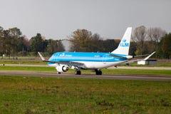 Embraer ERJ-175 from airline KLM lands on international airport. LANGENHAGEN / GERMANY - OCTOBER 28, 2017: Embraer ERJ-175 from airline KLM lands on Stock Photo