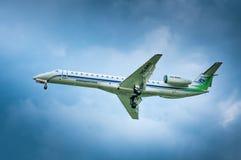 Embraer ERJ-145-LI VQ-BWO av flygbolaget Komiaviatrans Fotografering för Bildbyråer