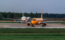Embraer ERJ 190 Saratov Airlines prepares for takeoff Royalty Free Stock Image