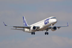 Embraer ERJ 190 view. This is a view of LOT - Polish Airlines plane Embraer ERJ 190 registered as SP-LNE on the Warsaw Chopin Airport. March 16, 2016. Warsaw Royalty Free Stock Photography