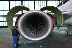 Embraer 195 jet engine Stock Photos