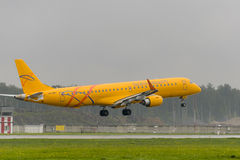 Embraer 195LR Saratov airlines landing Royalty Free Stock Image
