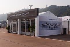 Embraer S.A.on flygutställning Arkivfoto