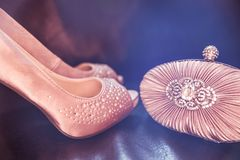 Embrague y zapatos nupciales de Diamond Encrusted Nude Colour Satin en D fotografía de archivo