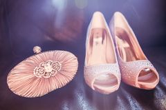 Embrague y zapatos nupciales de Diamond Encrusted Nude Colour Satin en D imagen de archivo libre de regalías
