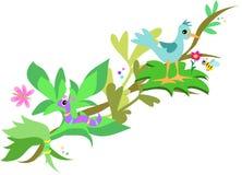 Embranchez-vous avec l'oiseau, le ver de terre et l'abeille illustration libre de droits