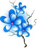 Embranchez-vous avec les fleurs bleues roses Photos stock