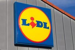 Embranchez-vous de la chaîne de supermarchés de LIDL Photos libres de droits