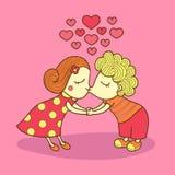 Embrassant la fille et le garçon d'isolement Valentine Lovers Illustration de vecteur d'un couple mignon Images libres de droits