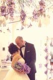 Embrassement de mariée et de marié Photographie stock libre de droits