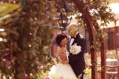 Embrassement de mariée et de marié Images libres de droits