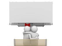 Embrassement des couples sur un banc avec le copyspace illustration de vecteur