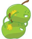 Embrassement espiègle de dessins animés de pomme Image libre de droits