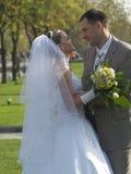Embrassement juste marié en stationnement Images libres de droits