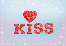 Embrassez l'inscription avec le symbole de coeur fait de petites formes de coeur sur le fond mou bleu illustration libre de droits