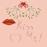 Embrassez moi, les languettes et le gui Photographie stock libre de droits