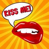 Embrassez-moi ! ! ! Paires sexy douces d'art de bruit de lèvres brillantes de vecteur Ouvrez les lèvres rouges humides sexy avec  Photos libres de droits