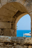 The embrasure in Fortezza, Rethymno, Greece. The Fortezza & x28;from Italian for & x22;fortress& x22;& x29; is the citadel of the city of Rethymno in Crete stock images