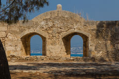 The embrasure in Fortezza, Rethymno, Greece. The Fortezza & x28;from Italian for & x22;fortress& x22;& x29; is the citadel of the city of Rethymno in Crete royalty free stock image
