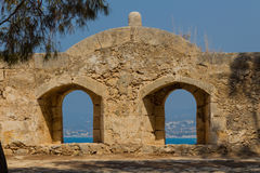 The embrasure in Fortezza, Rethymno, Greece. The Fortezza & x28;from Italian for & x22;fortress& x22;& x29; is the citadel of the city of Rethymno in Crete royalty free stock photos