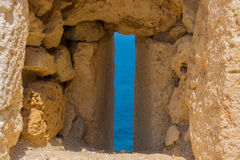 The embrasure in Fortezza, Rethymno, Greece Stock Images