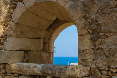 The embrasure in Fortezza, Rethymno, Greece Royalty Free Stock Photo