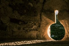 Castle Embrasure. Embrasure at the Tower of the Velez Blanco`s Castle in south Spain stock images