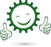 Embrayez avec le logo de sourire, de mécanicien et de serrurier illustration stock