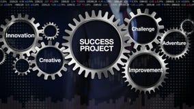 Embrayez avec le mot-clé, défi, innovation, créative, aventure, amélioration Homme d'affaires touchant le 'PROJET de SUCCÈS' illustration libre de droits