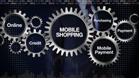 Embrayez avec le mot-clé, en ligne, crédit, en achetant, paiement mobile, écran tactile 'achats mobiles' d'homme d'affaires illustration stock
