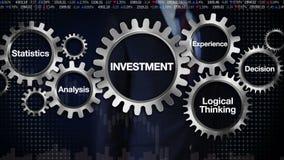 Embrayez avec le mot-clé, statistiques, analyse, pensée logique, expérience, décision Homme d'affaires touchant le 'INVESTISSEMEN illustration libre de droits