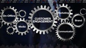 Embrayez avec le mot-clé, Sur-en différé, media, marque, vente, communication Écran tactile 'ENGAGEMENT d'homme d'affaires de CLI illustration de vecteur