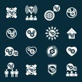 Embrayez les icônes peu communes de thème de développement et de progrès de puissance de système Photographie stock libre de droits