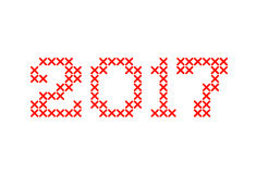 Embroided by cross stitch text 2017 new year isolated on white background. Vector illustration Royalty Free Stock Images