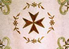Embroided Maltese tablecloth, Marsaxlokk, Malta. Royalty Free Stock Photo