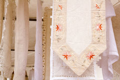 Embroided Warm Tablecloth With Flowers Royalty Free Stock Image