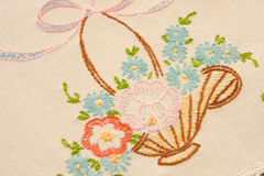 Embroider Detail on Dresser Scarf Royalty Free Stock Image