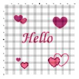 Embroider Hello for an embroidery hands a cross Stock Image