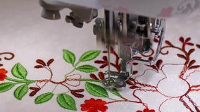 Embroider machine in action. Embroider machine detail in action stock footage