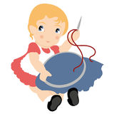 Embroider. Young girl, vintage style, is embroidering Stock Images