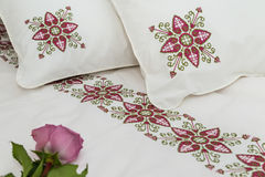 Embroidered bedding Royalty Free Stock Photos